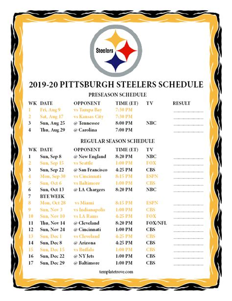 printable pittsburgh steelers schedule