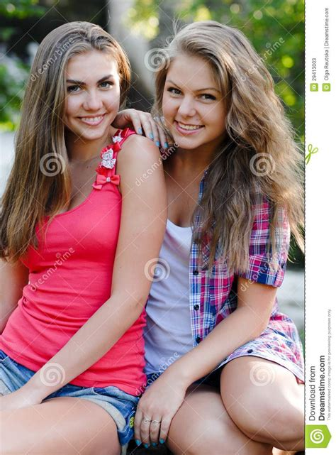 Attractive Two Best Friend Having Fun Stock Photos Image