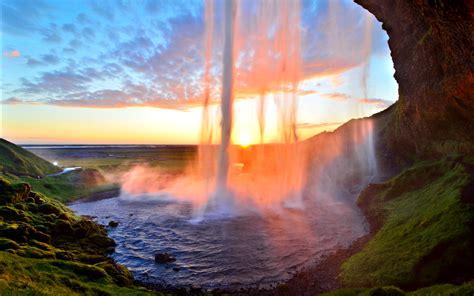 sunset curtain call seljalandsfoss iceland david shield
