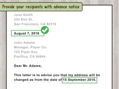 write  letter  change  address  pictures