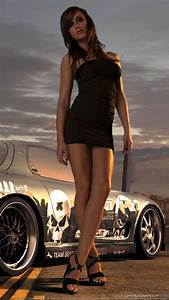 Hot Girl Standing Next To Sport Car Wallpaper for Nokia N9