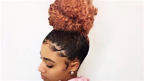 high bun  slayed edges trimming  daughters
