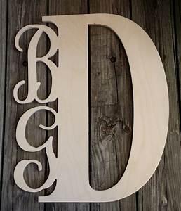 wooden monogram unfinished three letter monogram door hanger With wood monogram letters for door
