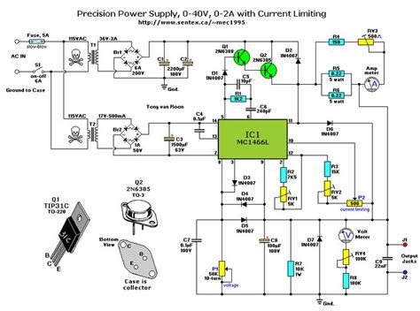 precision power supply 0 40v 0 2a adjustable current limiting schematic ηλεκτρονικά in 2019