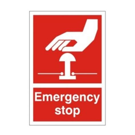 emergency stop red health  safety sign ssd