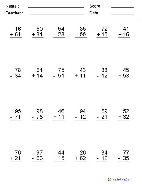 multi digits addition and subtraction worksheet mixed problems worksheets mixed problems worksheets for