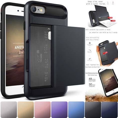 Pc+tpu 2 in 1 combo card slot phone case cover capa. Credit Card Holder Wallet Case Shockproof Phone Cover For iPhone 6 6s 7 8 Plus   eBay