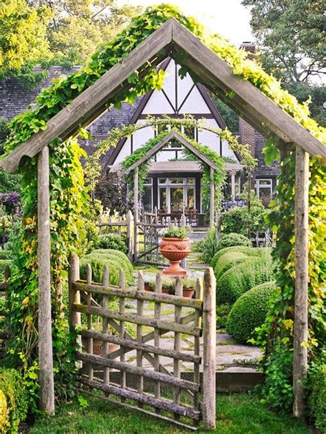 backyard arbors gardeningwalks rustic pergola gate love the pitched arbor and gate garden is a bit too