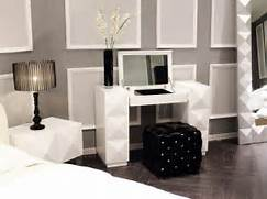 Modern Vanity Furniture by White Lacquer Contemporary Vanity With Folding Mirror And Silky Pouf Prime Cl