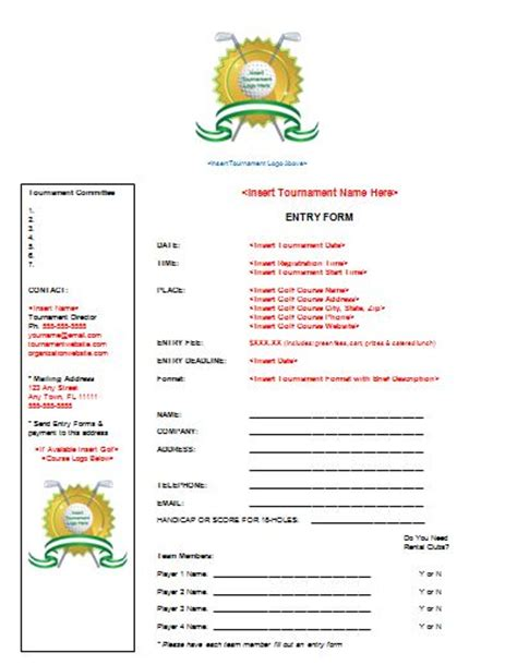 open qualifying entry form planning guide golf tournament planning center