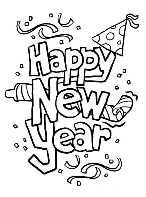 Kleurplaat Happy New Year by Happy New Year Hat Coloring Pages Coloring Home