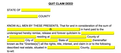 quit claim deed forms  word eforms