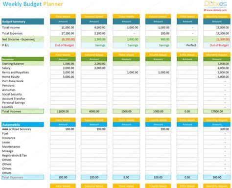 weekly budget planner template spreadsheet dotxes