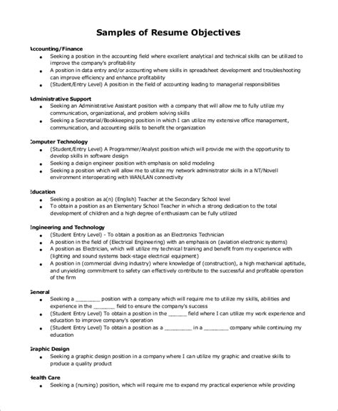 simple objective in resume 9 simple resume exles sle templates