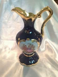 Beautiful Limoges Porcelain Cobalt Blue U0026 Gold Handled Pitcher Love Story Design