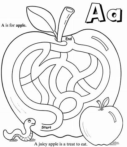 Coloring Apple Maze Pages Worksheet Nutrition Rocks