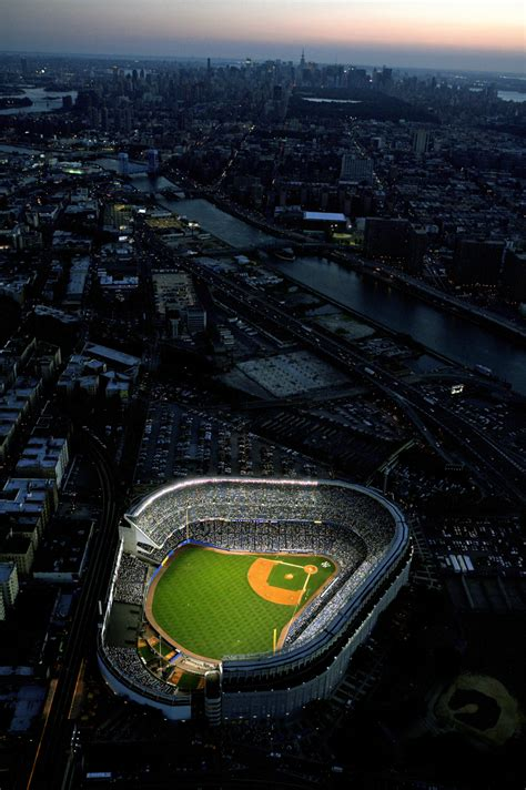 yankee stadium aerial  dusk vertical neil leifer