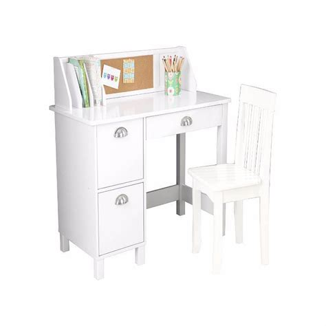 kidkraft study desk with side drawers white haus
