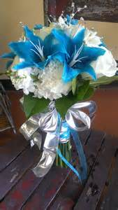 Blue White and Silver Wedding Bouquet