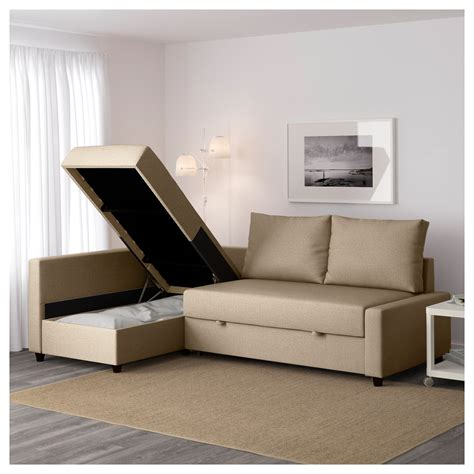 Friheten Corner Sofabed With Storage Skiftebo Beige Ikea