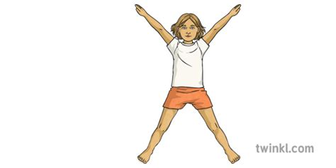 Jumping Jacks No Shoes 2 Girl Child Fundamental Skills Easter Twinkl Move