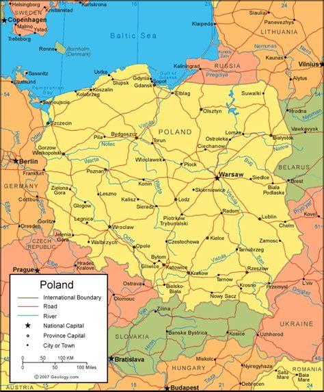 map  poland satellite image  poland maps