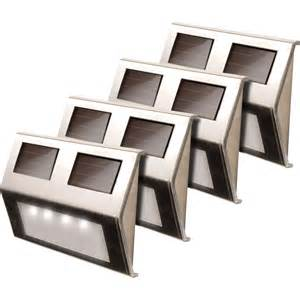 maxsa solar powered led deck lights 4 pack stainless