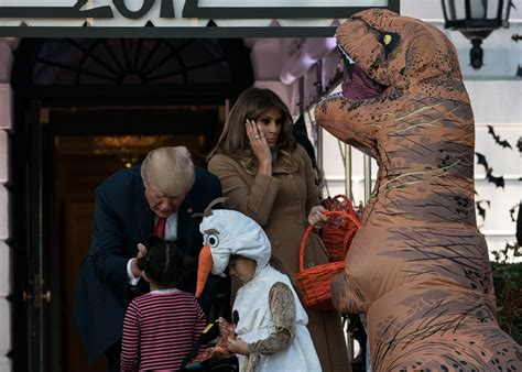 trump halloween melania donald president dinosaur candy lady hand costume horror stories kid meth getty dressed mrs trick poison gettyimages