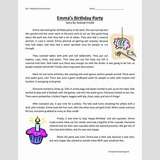 Emma's Birthday Party  Reading Comprehension Worksheet