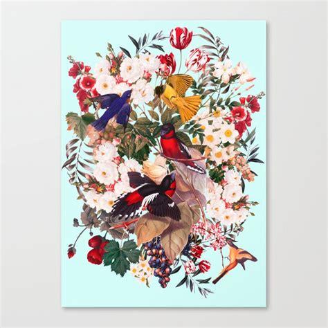 Floral And Birds Xxxi Canvas Print By Burcukorkmazyurek