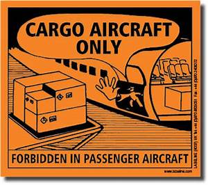 handling labels With cargo aircraft only label