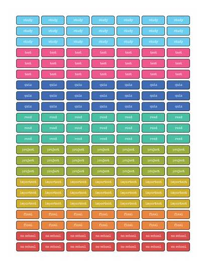 Planner Stickers Student Printable Labels Label Templates