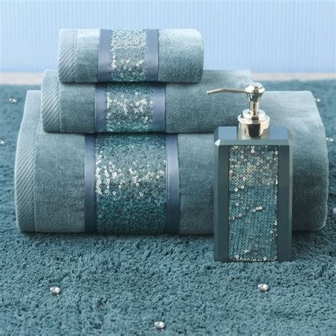 croscill sequin shimmer teal bath collection color