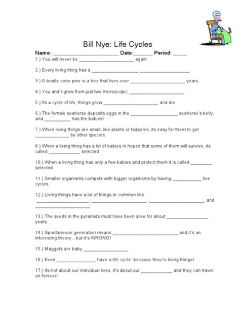 Worksheet For Bill Nye Water Cycle Homeshealthinfo