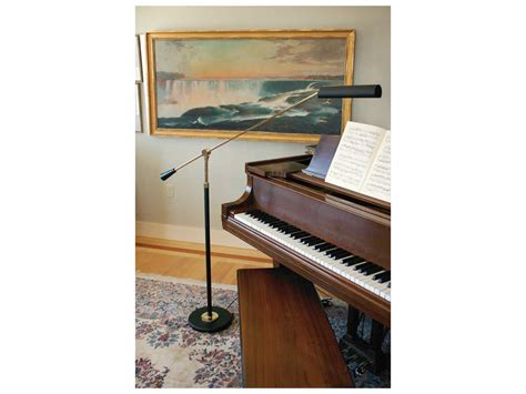 house of troy black with brass piano floor l htpfl617