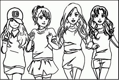 Coloring Friends Pages Friend Friendship Forever Anime