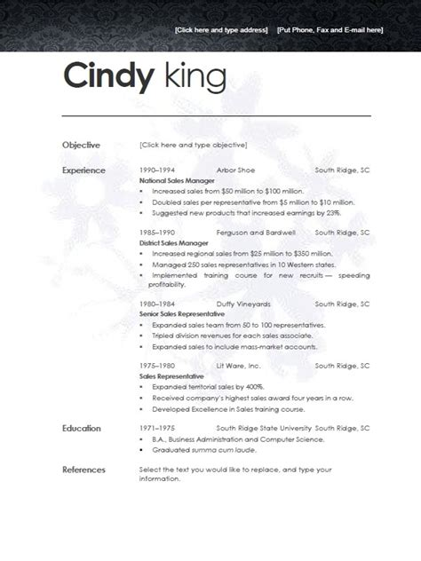 Free Resume Templates For Openoffice by Resume Template Open Office Learnhowtoloseweight Net