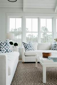 Modern, White, Cottage, Living, Room, With, Upholstered, Sofas, And, Contemporary, Coffee, Table