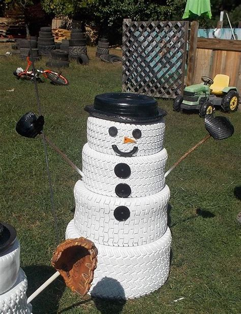 the snowman family made from tires hometalk