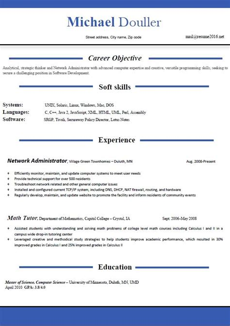Current Cv Template by Cv Word Template 2016