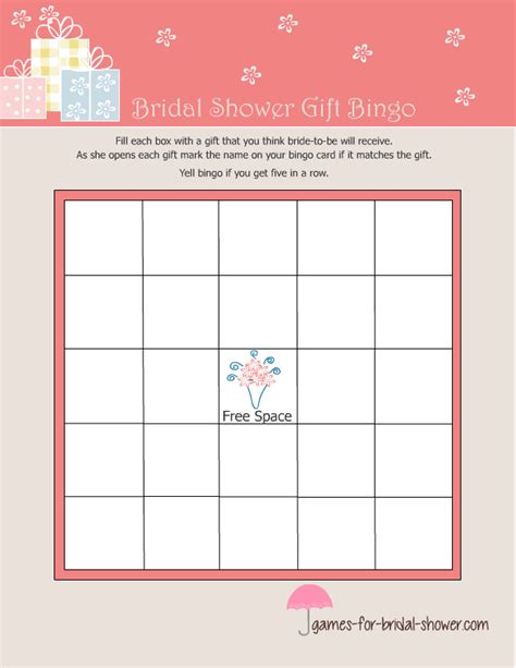 free printable bridal shower gift bingo game