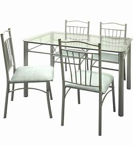 Four-Seater Dining Set w Glass Top Table by FurnitureKraft