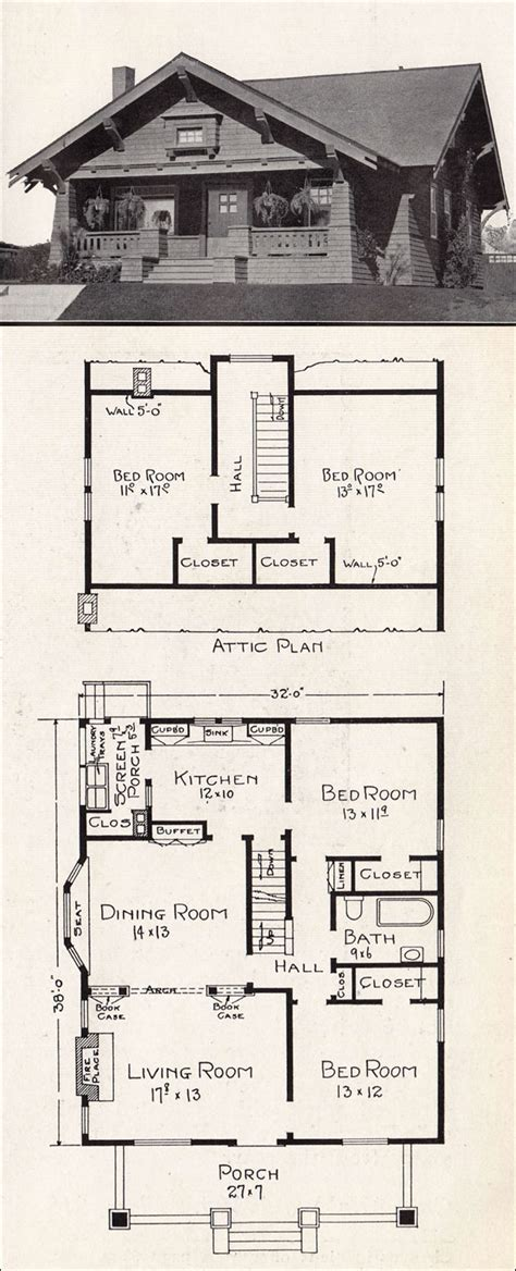 craftsman bungalow floor plans  craftsman