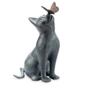 cat statue curiosity cat butterfly garden sculpture metal verdi