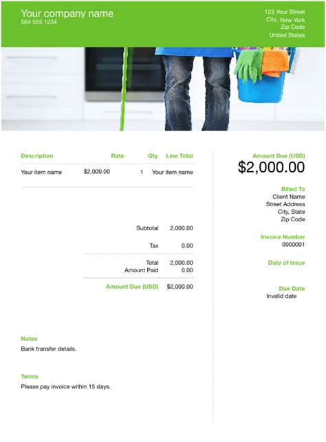 house cleaning invoice template