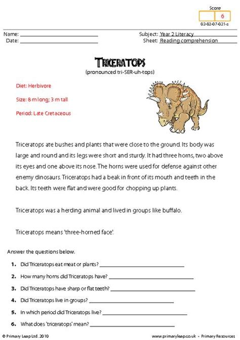 reading comprehension triceratops non fiction