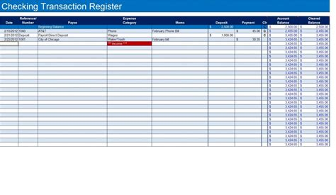 create  checkbook register  excel