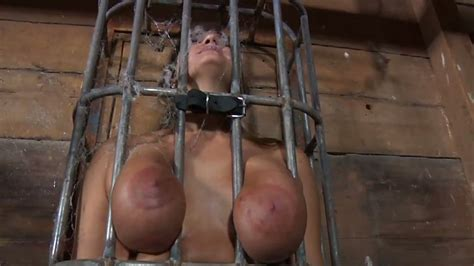 Sexy Chick With Big Boobs Is Locked In The Cage Like A Beast
