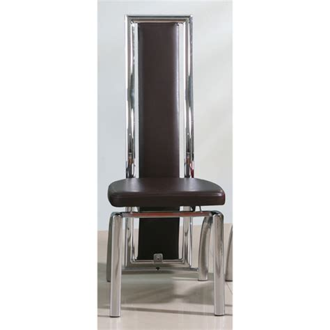chicago faux leather dining chair in brown with chrome legs