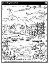 Coloring Sheets Glacier Watershed Sheet Mountains Bay Streams National Printable Eagles Salmon Getdrawings Getcolorings Kidsyouth Nps Glba Gov Learn sketch template